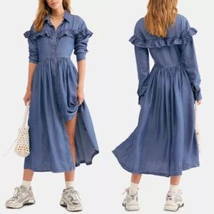 Free People Montana Sunrise Midi Denim Dress